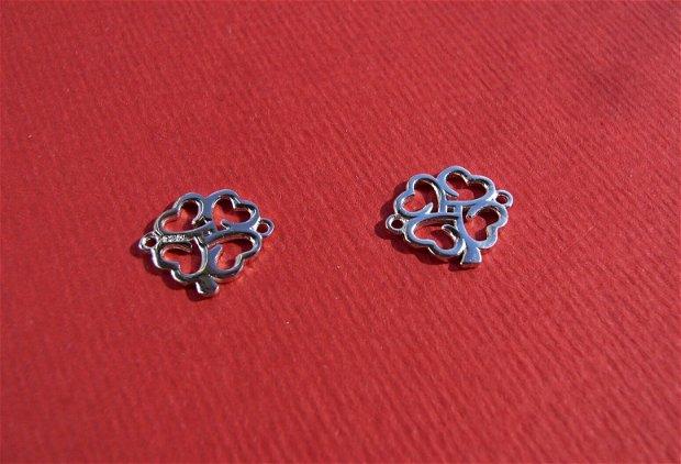 Trifoi cu 4 foi - link din argint .925 rodiat aprox 10.5x12 mm (cu anourile)