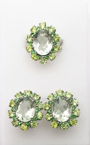 Set Argint 925 cu pietre semipretioase ametist verde