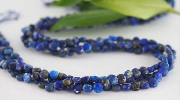 Lapis lazuli, disc fatetat, 4x2.5mm (2)