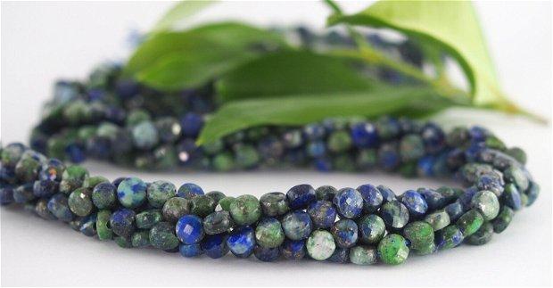 Lapis lazuli si chrysocolla, disc fatetat, 4-5x2.5mm (2)
