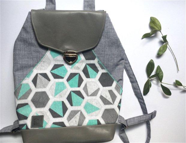 Rucsac Hexagon Geometric,marimea A4, material bumbac si piele