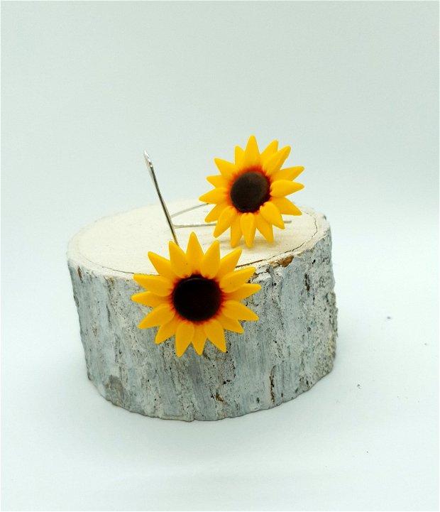 Cercei floarea-soarelui, tortite argint
