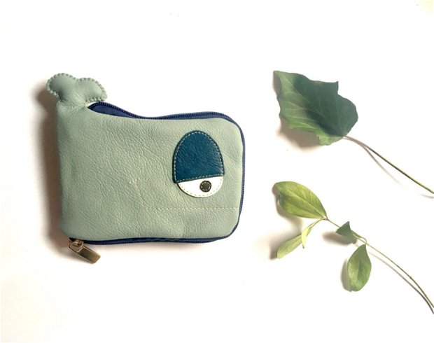 Portofel piele Balena verde menta si albastru