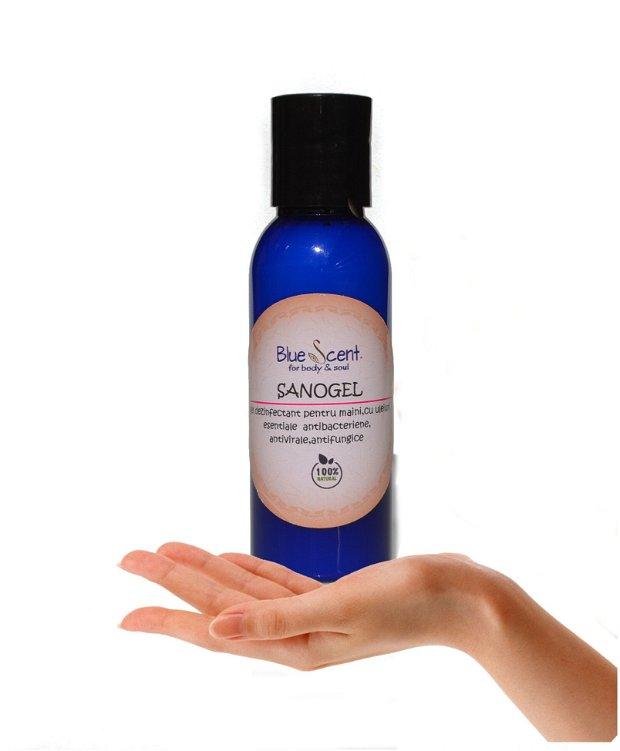 SanoGel-gel dezinfectant pentru maini cu uleiuri esentiale si aloe -BlueScent