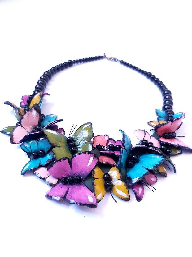 Colier piele Fluturi multicolori