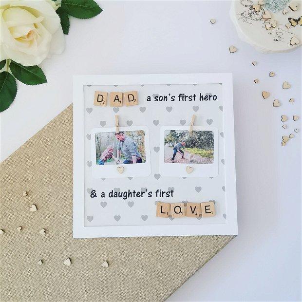 Ramă foto pentru tată de băiat și fată | Cadou pentru el |