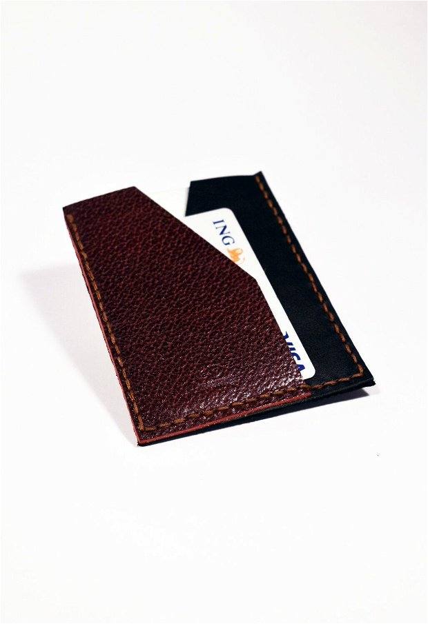 """Portofel """"PocketXS"""" pentru costum, din piele naturala reciclata, personalizat prin gravura"""