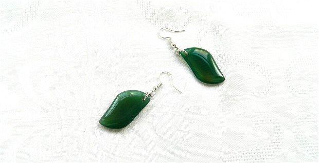 Cercei petale agat verde