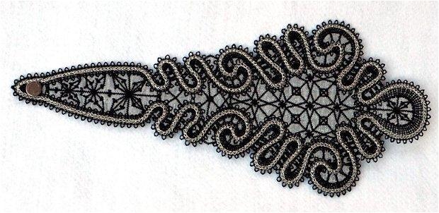 Cravata neagra brodata tip Battenberg