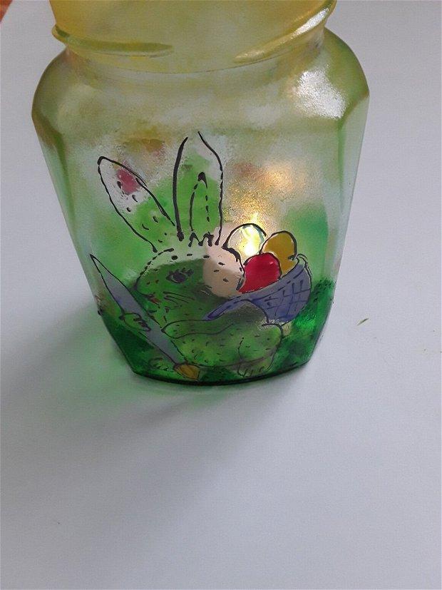 Felinar din sticla pictat manual iepuraș de Paste