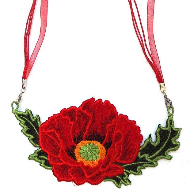 Floare de mac rosu colier brodat