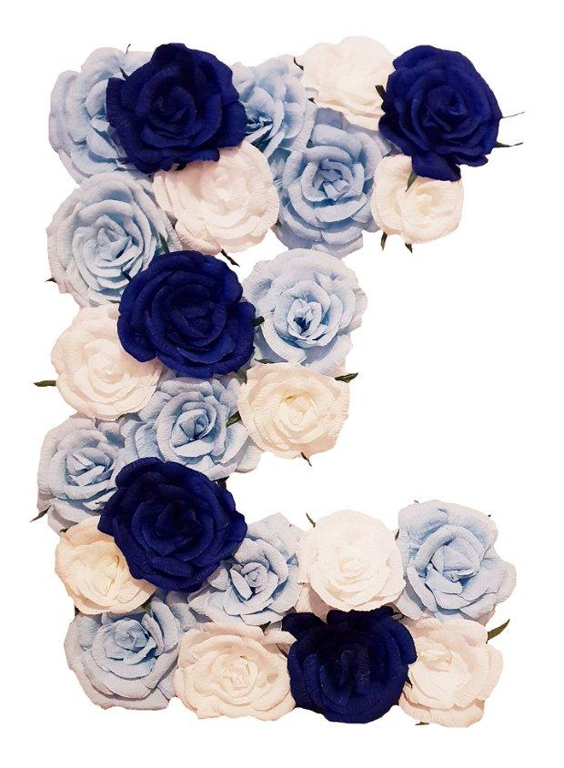 Litera volumetrica E bleu, bleumarin, vernil