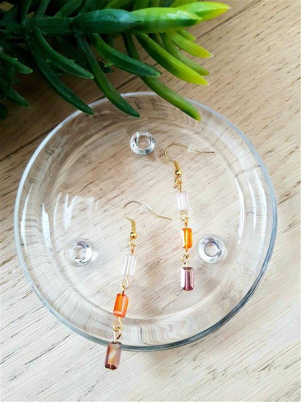 Cercei cu cristale multicolore dreptunghiulare