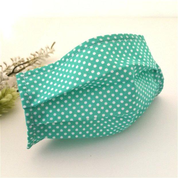 Masca verde turcoaz cu buline de protectie cu filtru din polipropilena
