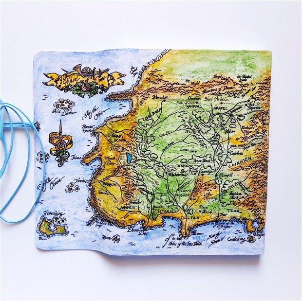 Jurnal (mare) de călătorie -HARTĂ- Jurnal de călătorie cu copertă de piele naturală