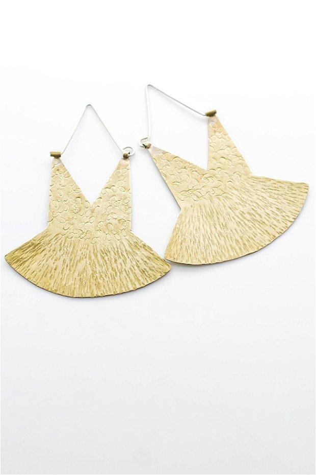 Cercei statement din alamă cu tortiță din argint 925, hoop earrings