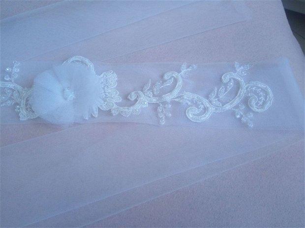 Esarfa mireasa dezgatit ivory/brau model 20