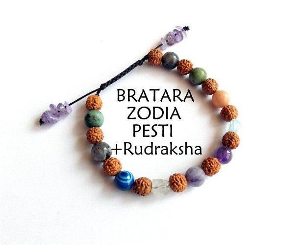 Bratara zodia Pesti+Rudraksha*Bratara reglabila