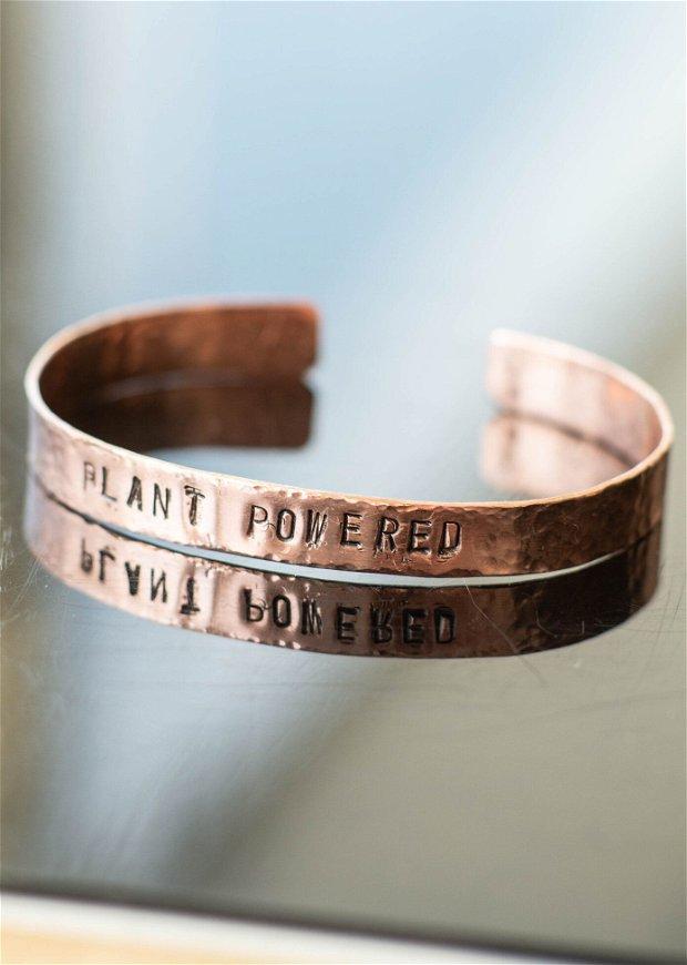 Brățară PLANT POWERED din cupru texturat