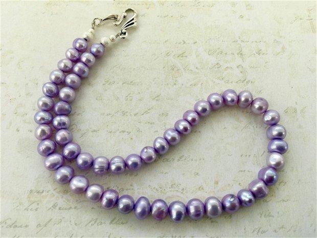 Colier perle de cultura violet
