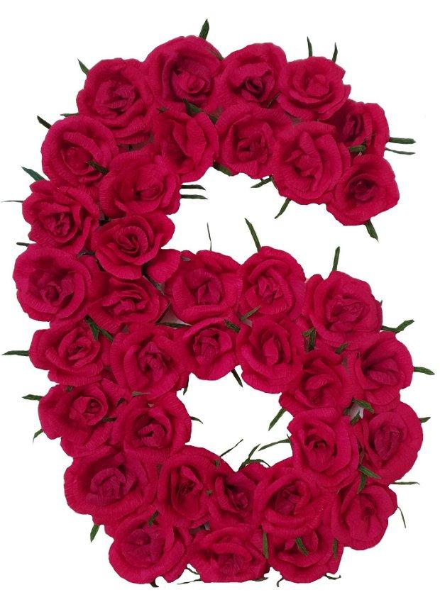 Cifra volumetrica 6 roz, roz pal, rosu