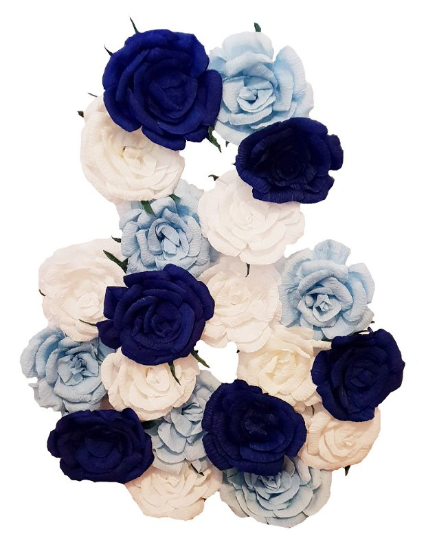 Cifra volumetrica 8 bleu, bleumarin, vernil