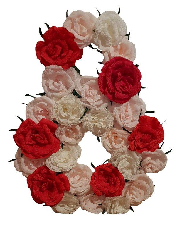 Cifra volumetrica 8 roz, roz pal, rosu