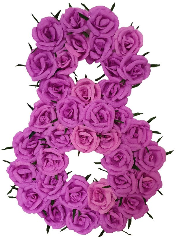 Cifra volumetrica 8 lila, ciclam, mov