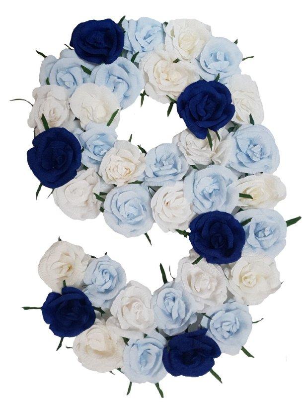 Cifra volumetrica 9 bleu, bleumarin, vernil
