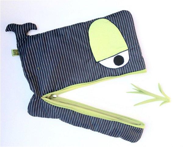 Husa laptop Balena, bleumarin cu dungi