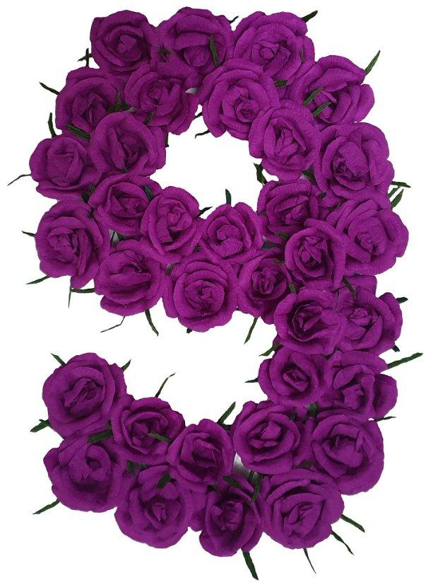 Cifra volumetrica 9 lila, ciclam, mov