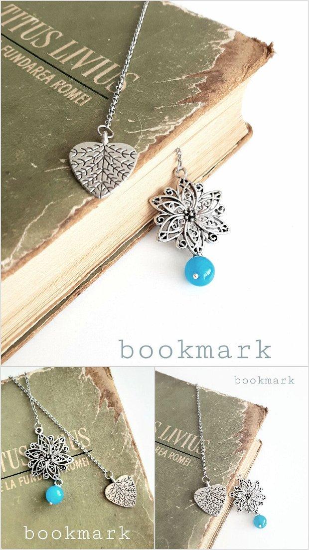 Semn de carte argintiu cu agat albastru