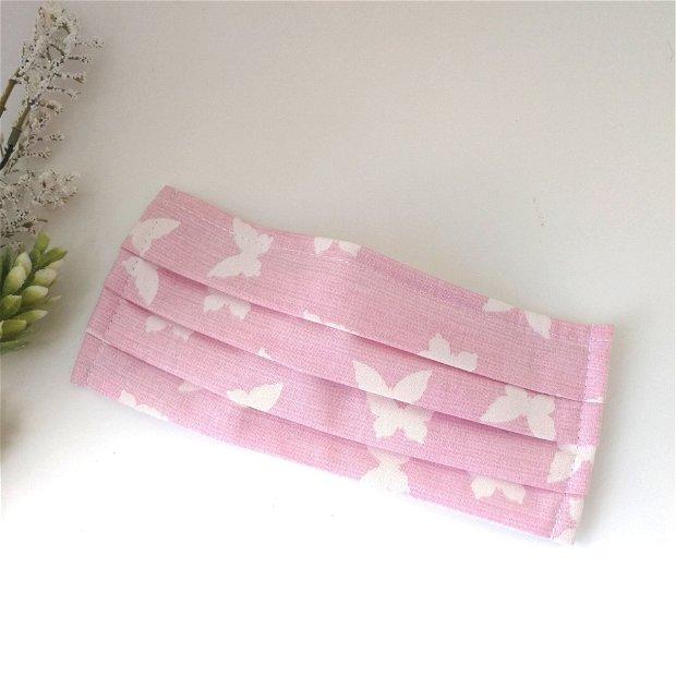 Masca din bumbac imprimeu roz cu fluturi