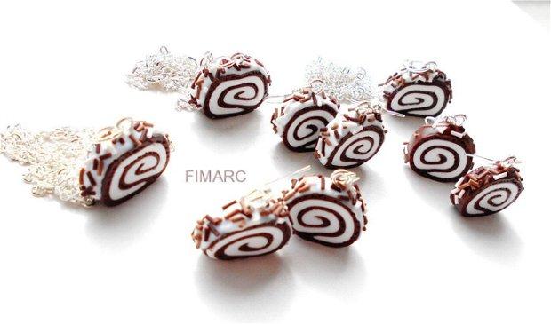 Rulada cu ciocolata si crema de frisca :cercei sau pandant cu lant