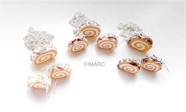 Rulada cu vanilie si crema de frisca - cercei sau pandant cu lant