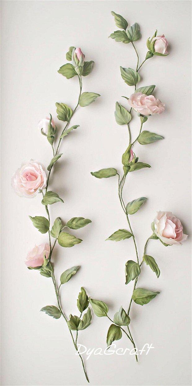Aplicatie rochie ramura trandafiri din matase naturala