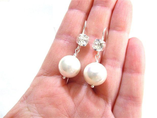 Cercei argint, perle albe naturale si cristale