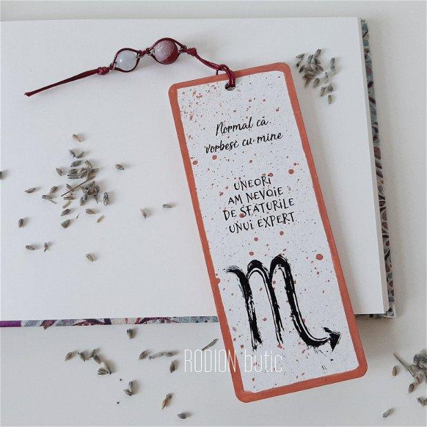 Semn de carte zodia Scorpion pictat manual personalizat cu mesaj