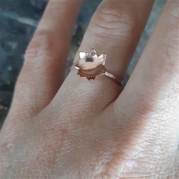 Stacking ring din argint 925 si floare din cupru