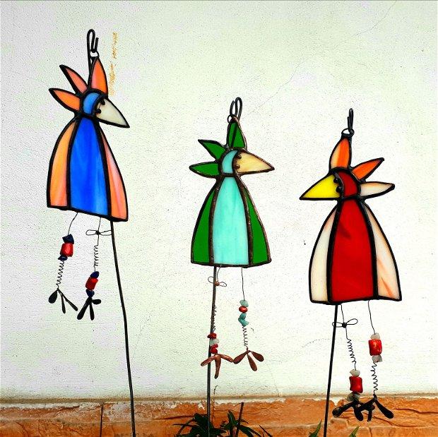 Decoratiune gradina ghiveci vitraliu