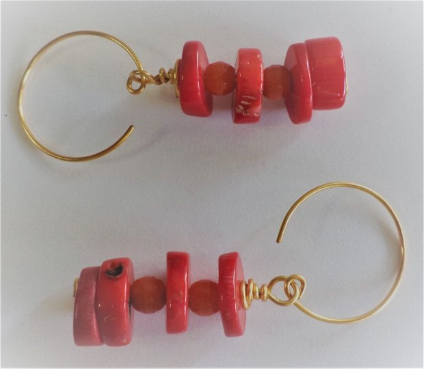 cercei din piatra de coral/cercei talisman - red earrings