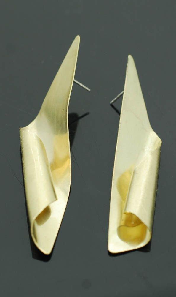 Cercei mari din alama cu tortita din argint 925, cercei rasuciti, cercei statement