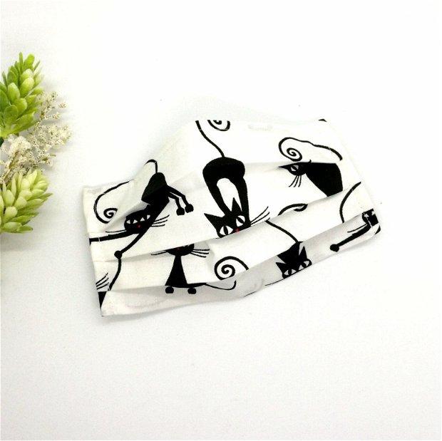 Masca din bumbac imprimeu cu pisici negre