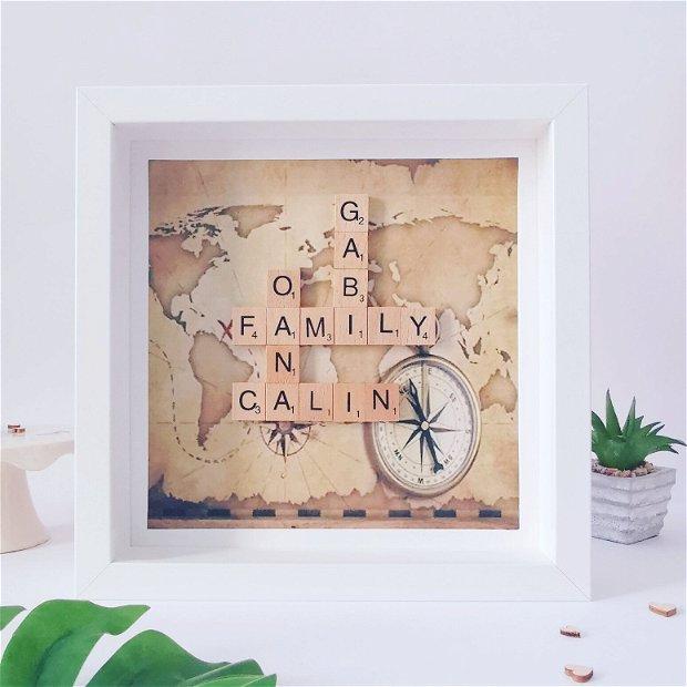 Tablou de familie | Decor de familie | Litere din lemn | Arbore genealogic |  Arborele de familie | Rama personalizata cu nume din litere scrabble