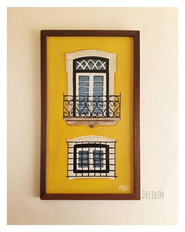 Yellow house portrait   Tablou   Pictură pe lemn