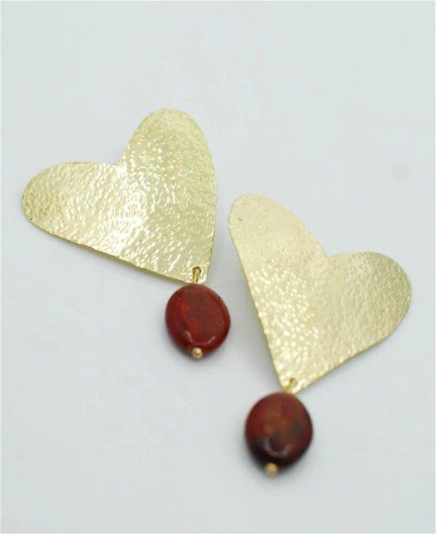 Cercei inimi din alamă texturata, mărgică ceramică, cu tortita de argint 925, cercei mari, cercei rotunzi, hoop earrings