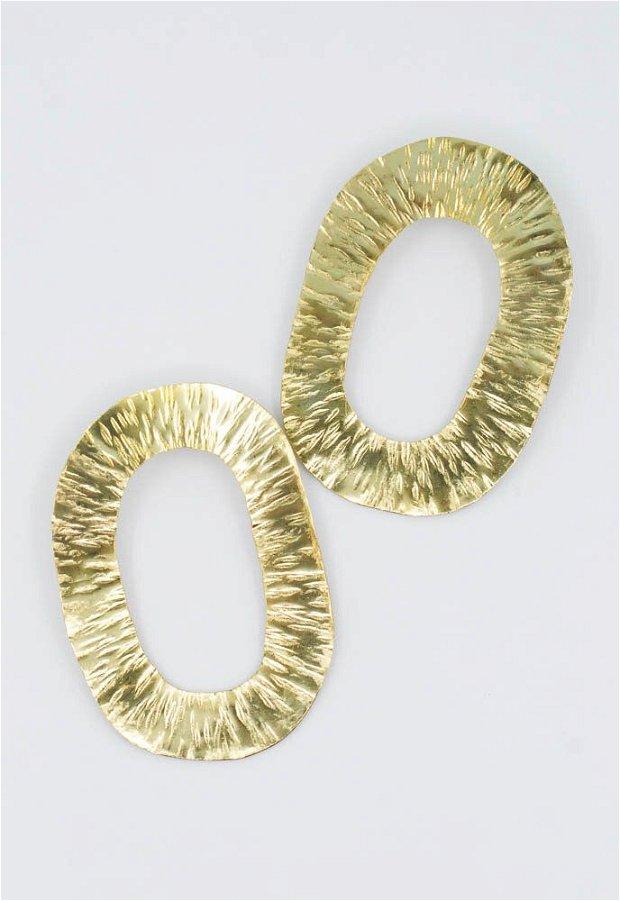 Cercei supradimensionați, din alama lacuita cu tortita din argint 925, cercei statement
