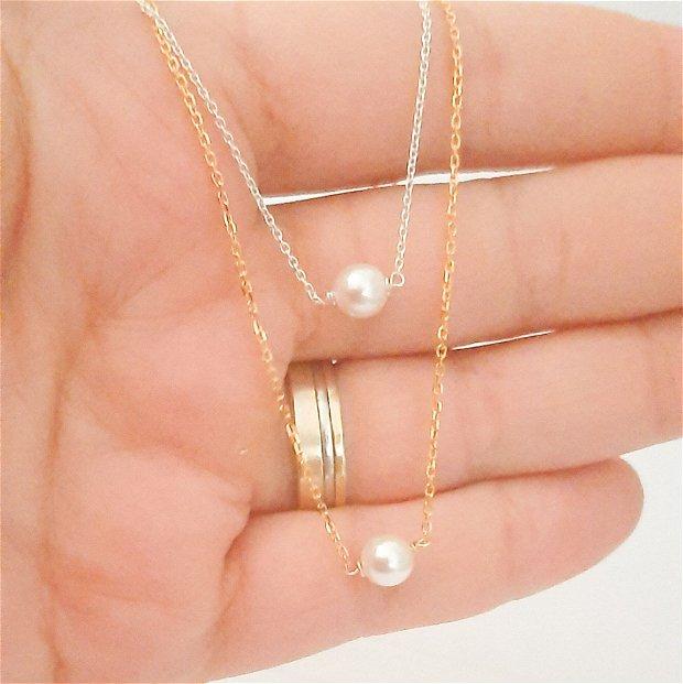 Colier din argint si perla din cristal Swarovski Elements,  cadou domnisoare de onoare, cadou aniversare / Craciun / 8 martie / Dragobete / Valentine's Day sotie / prietena