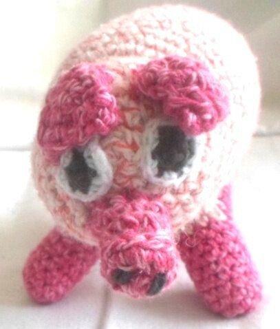 Porcusor alb roz cu roz deschis si inchis