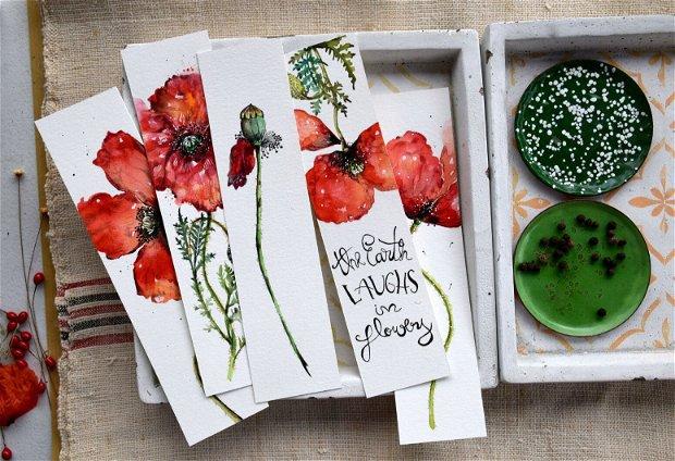 Semne de Carte - Maci, Flori, Carti, Pictura in Acuarela, Cadou Original, Carte - Nature & Colors Collection